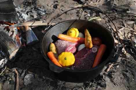 lamb roast in camp oven