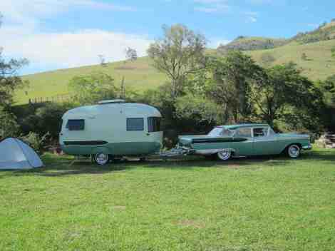 1950s caravan with matching car
