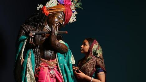 Devotees from the Hare Krishna Temple in Adelaide dressing a 2.1 meter Idol of Krishna(important to use the word idol as it is not respectful to describe it directly as Krishna) at the Art Gallery of South Australia. Pictured: Yashoda Sakhi Dasi(female)